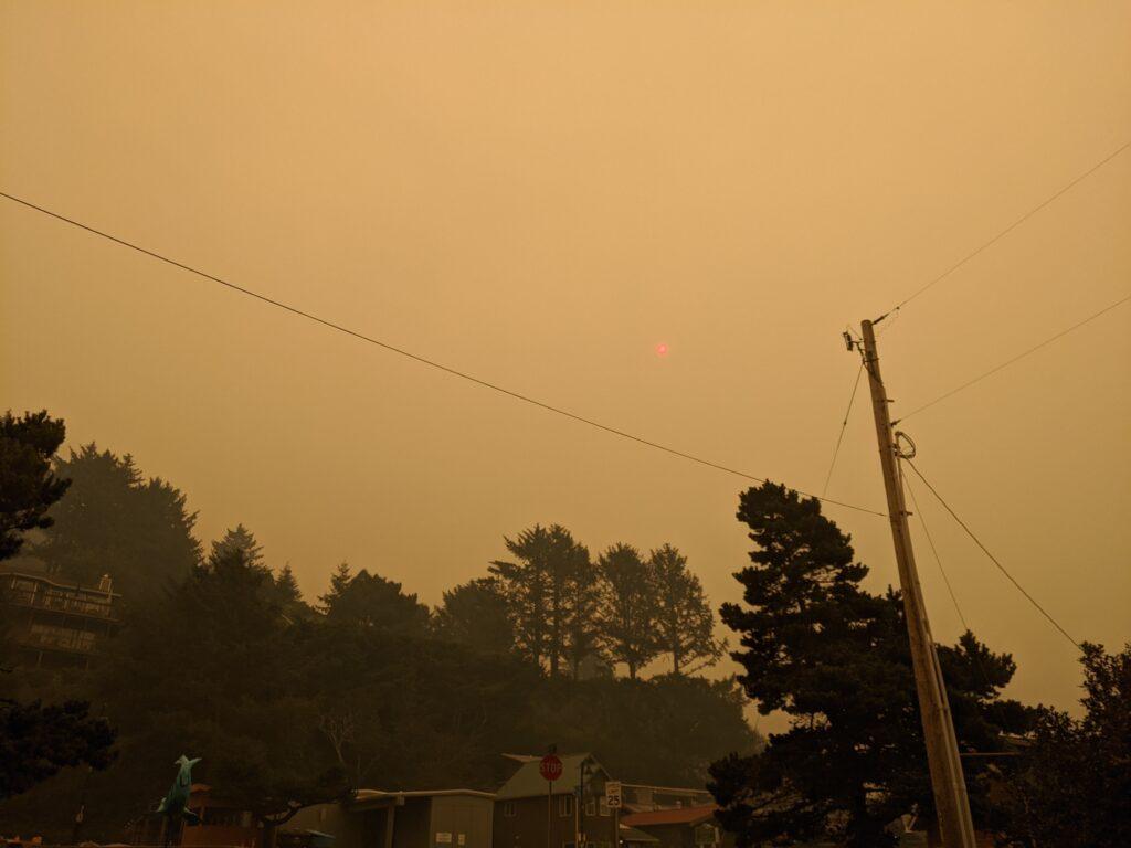 Smoky sky with red sun